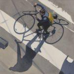 "Bike Shadows, 2020, Oil on linen, 20""x20"""