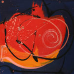 Framed Gouache on canvas painting, abstract, reds, orange, gold with a navy blue back ground.