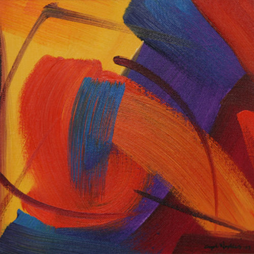 """Oil 10x10"""" abstract painting"""