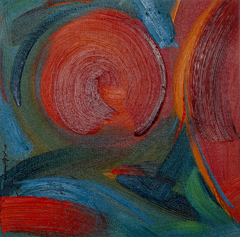 """Framed 10x10"""" Abstract Oil, warm red and cool greens with some caligraphic brush work"""