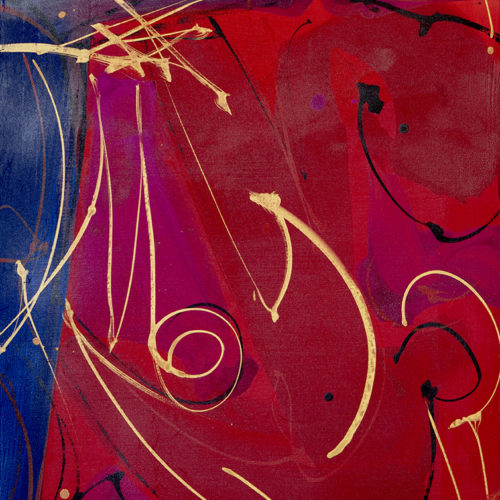 """Gouache on Canvas, 18x24"""". Magenta, red, blue and gold. Abstract."""