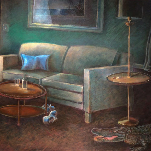 Painting of a dark room with TV, sofa and alligator