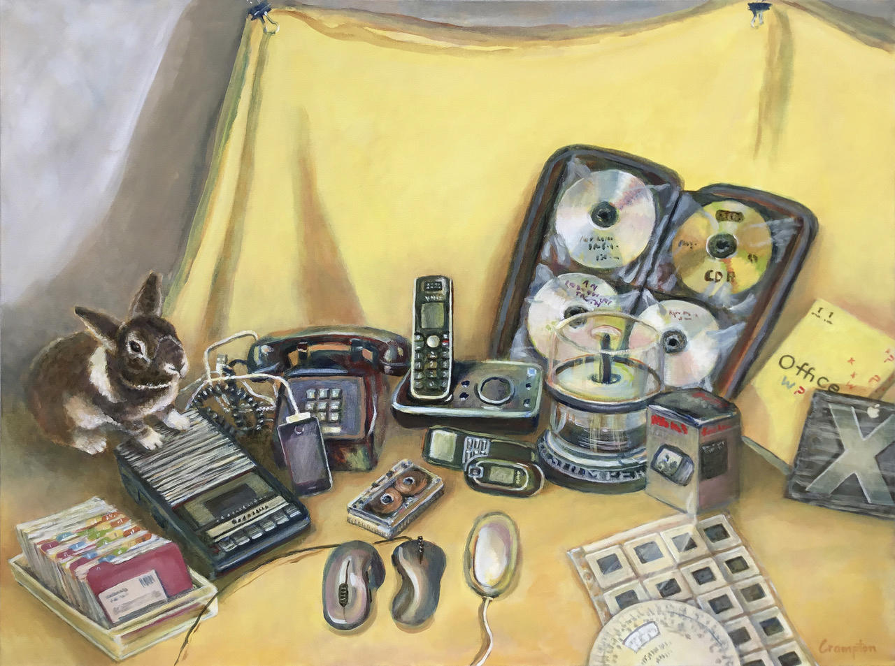 A representative still life of old media in yellow with rabbit