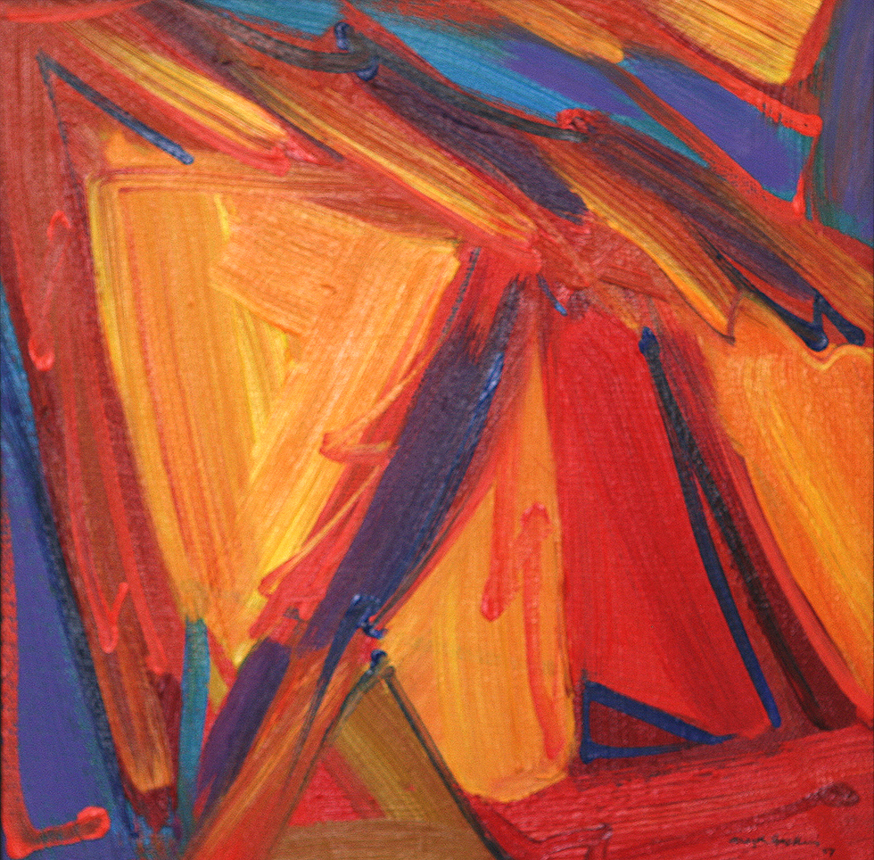 Abstract painting, triangles in reds, yellows, light orange along with blue accents + caligraphic brush work.