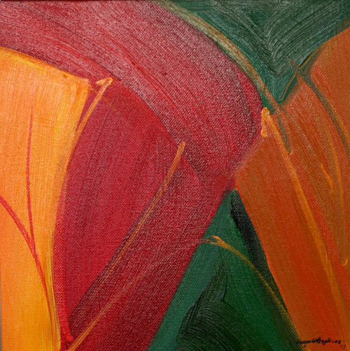 """10x10""""abstract oil painting with reds, oranges and greens + caligraphic brush work."""
