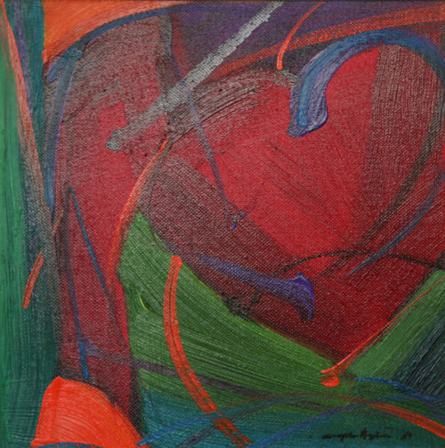 """Abstract Oil Painting, 10x10"""" with reds and greens + caligraphic brush work."""