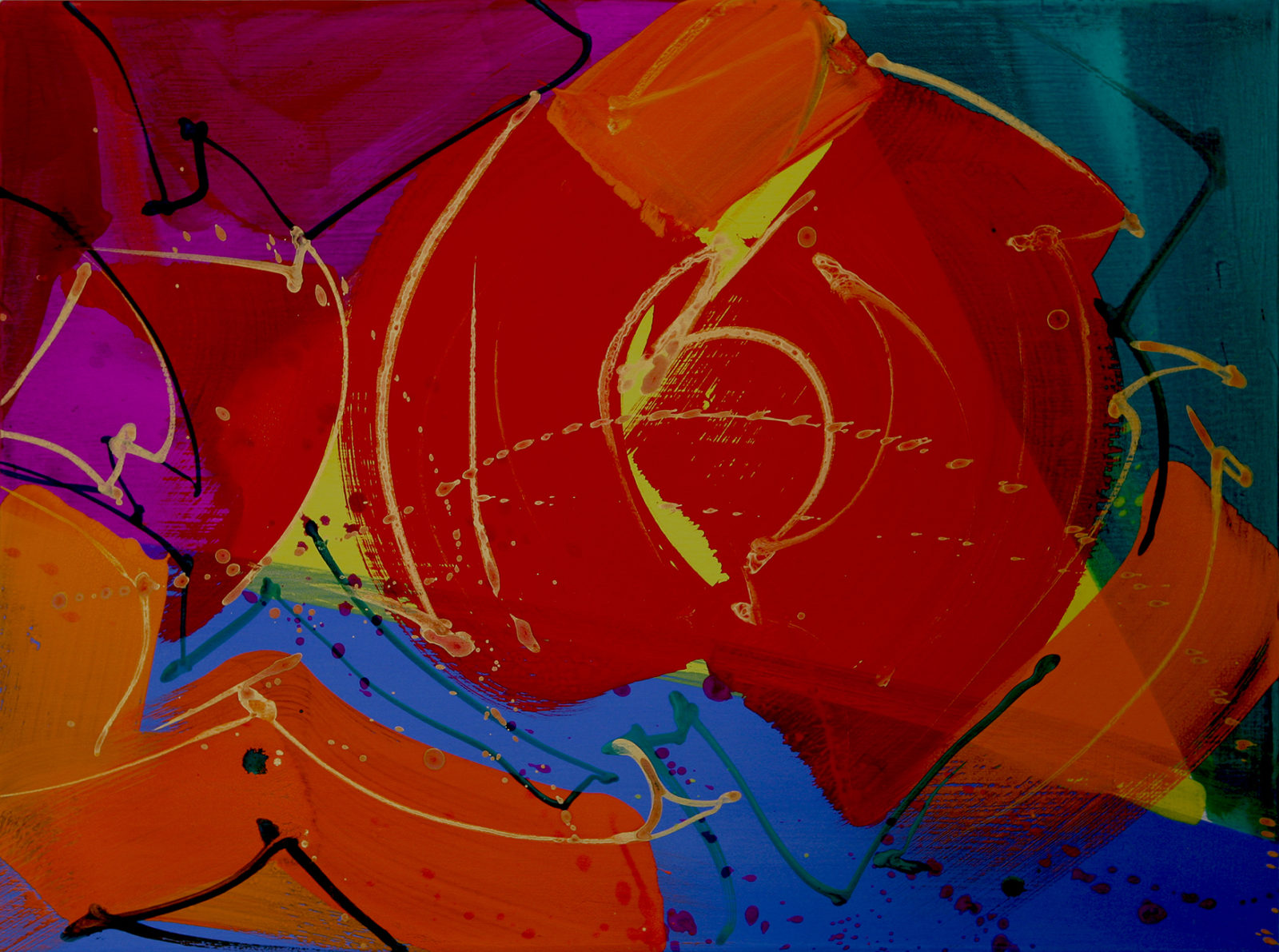 """24x18"""" gouache painting on canvas, warm reds and blues + calligraphic brush work"""