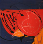 Gouache painting on canvas, in red and navy blue with caligraphic brush work.