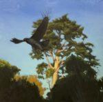 "A Hawk Takes Flight, 2020, oil on linen, 24""x24"", framed, $2,000."