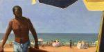 """On the Beach (at Agadir, Morocco), 2019, oil on canvas, 10""""x20"""", framed, $850."""