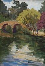 """The Bridge at Stow Lake, 2019, gouache on paper, 7""""x5"""", framed, $350."""