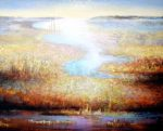 Textured luminous abstract landscape in peaceful and uplifting mood.