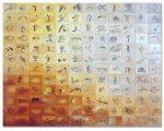 "Calligraphic Sketchbook, oil on 144 pieces of wood blocks, 62""x77"""