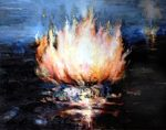Metaphorical exploration of themes of fire and flower.