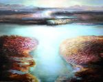 Colorful, iridescent piece with luminous, delicately painted water and vibrantly executed land.
