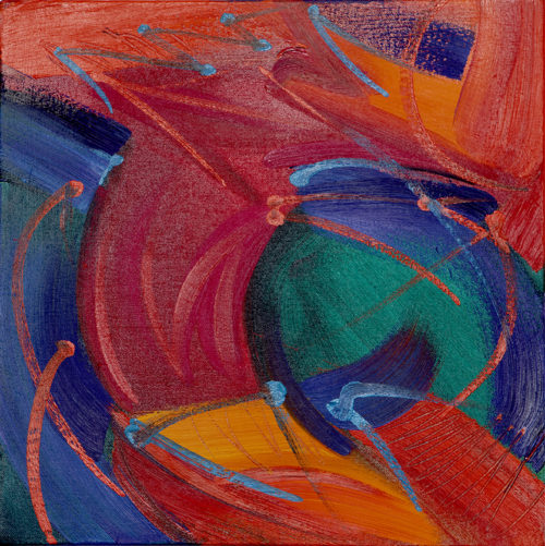 """10x10"""" abstract oil painting in reds, orange and blue"""
