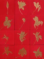 Twelve Magnolias (SF Arboretum) - 12 panels, each 10 in. x 10 in. - Mixed Media on Carved Wood Panel - Available
