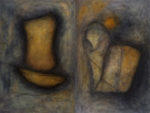"""Kay Kang, Muse and Musing, 36""""x48"""" Diptych, oil on canvas"""