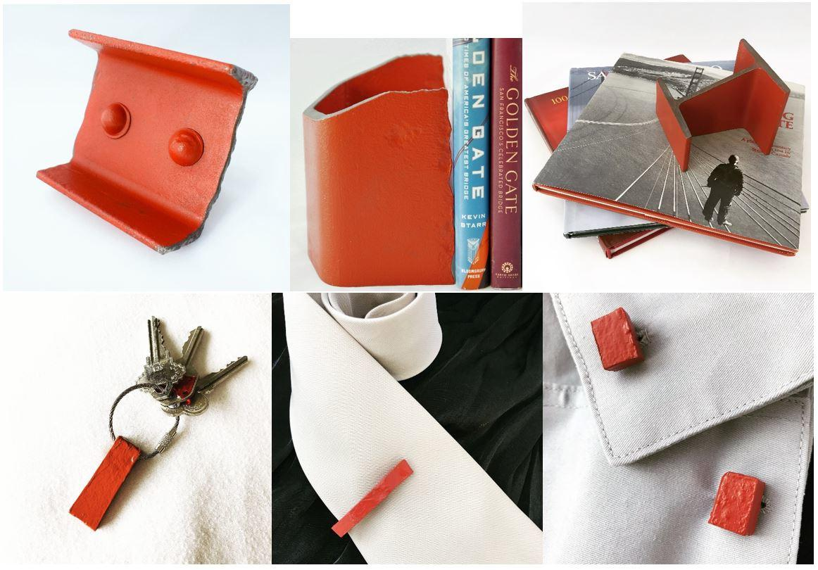 Golden Gate Bridge Steel Gift Items - Card Holder, Bookend, Paperweight, Key Chain, Tie Clip, Cuff Links