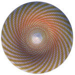"""Confluence Form 8, Polychrome woodcut on CNC routed wood Forms with matte resin, 23"""" diameter"""