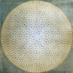 "Polychrome woodcut on panel, 27"" x 27"", $3800"