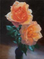 """""""Elegant Blooms"""", 9"""" x 12"""", oil on canvas, framed"""