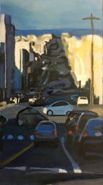Larry Morace, Blue Street, Bright City (Outer Sunset of San Francisco, Ca.), 40 x 22 in., oil/canvas