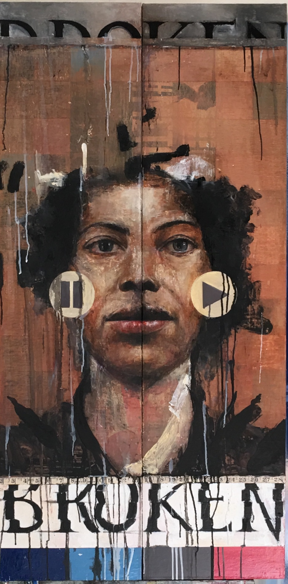 """Stephen Namara """"Broken"""", mixed media on panel, 48"""" x 24"""""""