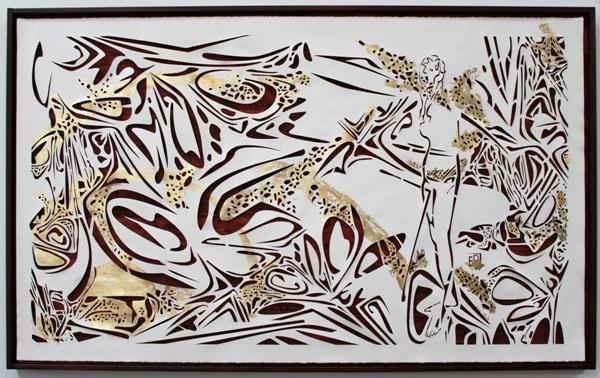 "Elvira Dayel ""Moonlight,"" paper cut, 48 x 72 in"