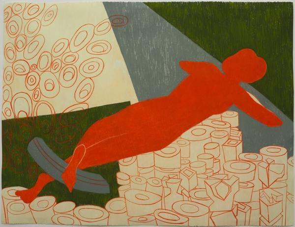 "Elvira Dayel ""She is Bridge,"" drawing, 38 x 51 in"