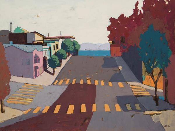 """Jenny M.L. Wantuch, """"Facing East on Potrero Hill"""", oil on panel, 30x40"""""""