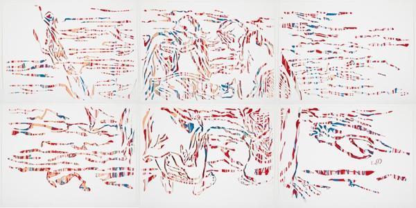 """Elvira Dayel """"Bathers,"""" paper cut, 44 x 90 in"""