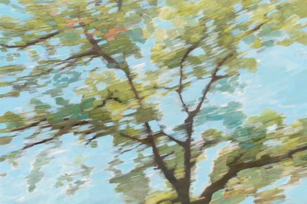 """Wynne Hayakawa, """"East Ridge,"""" oil and archival photo print on canvas, 48 by 72 inches, ©2015 (Photographer: John Janca)"""