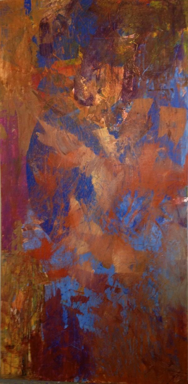 "Aisla Islava ""Copper Canyon"" Acrylic, Resin on Wood Panel 4'x8'"