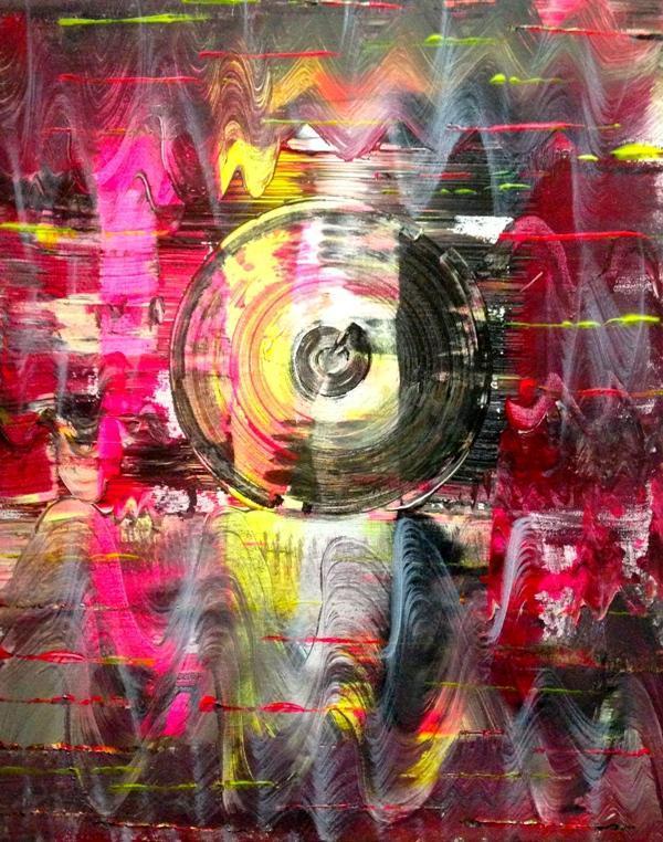 """Aisla Islava """"D.J., I'm the real deal, J."""" Acrylic on Canvas Frame 22""""x24"""""""