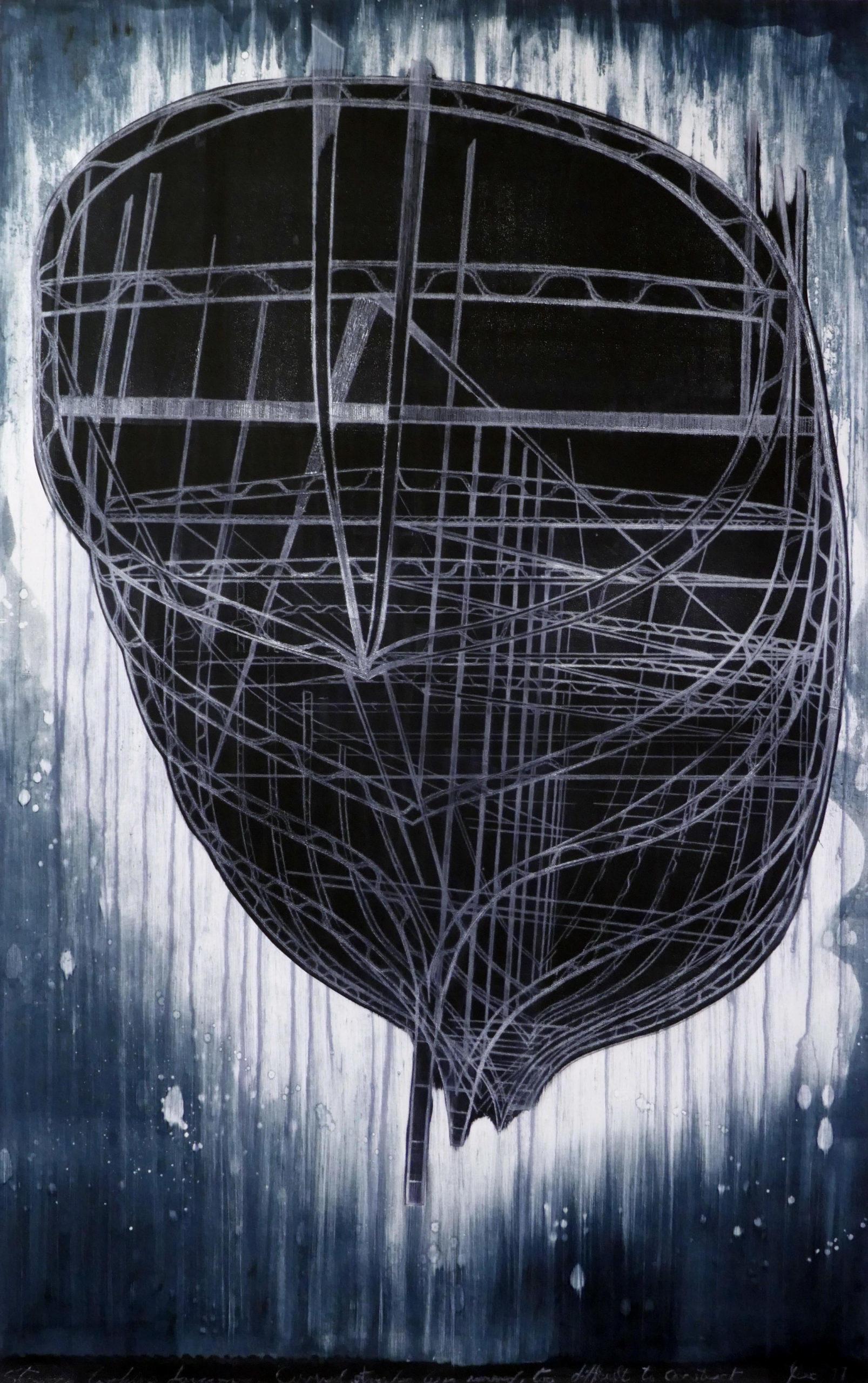 "Jenny Robinson, 'Stern facing forward', Drypoint , mono print, size H52"" x W 39"""