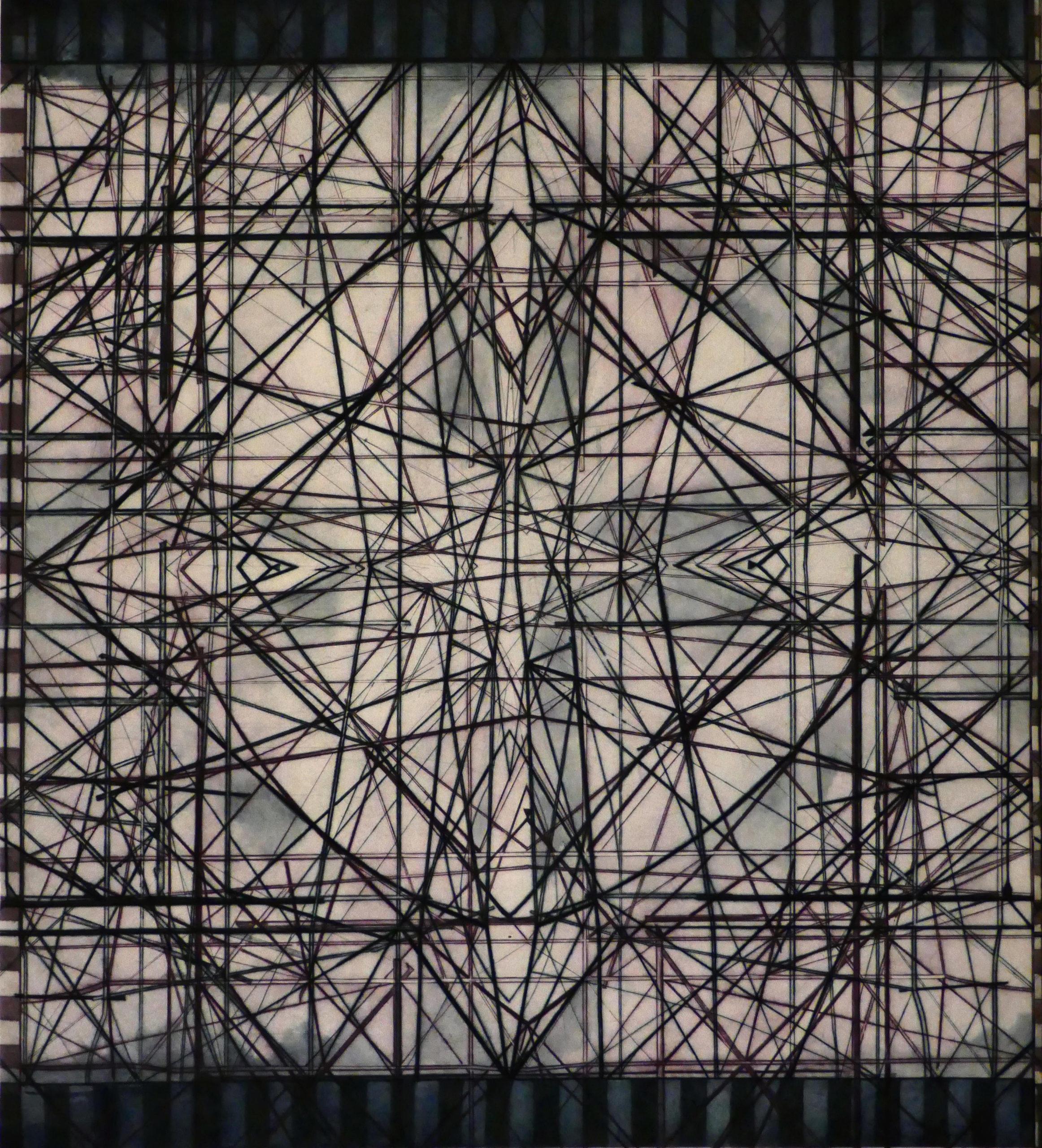 "Jenny Robinson, Urban Mosaic, Drypoint on Japanese paper, H 47"" x 42"""