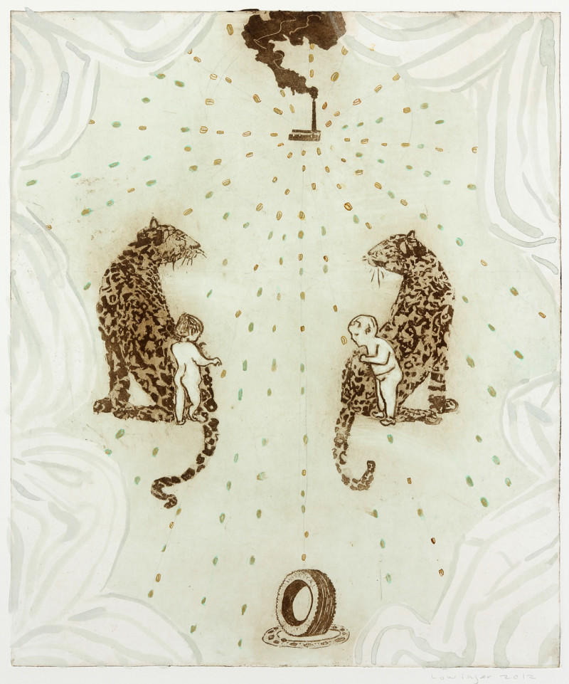 Leopards and Children Guarding Money and Industry by Leslie Lowinger