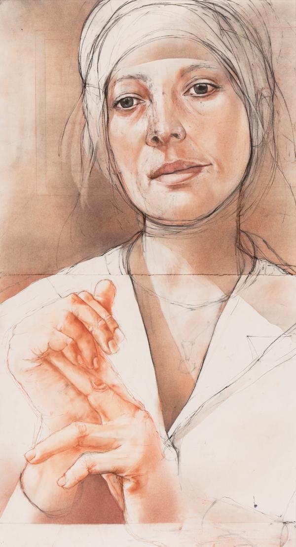 "Stephen Namara ""Female portrait"", 44""x24"", dry pigment on paper, 2018 (Sold)"