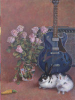 Still life with Rabbits, Roses and Guitar