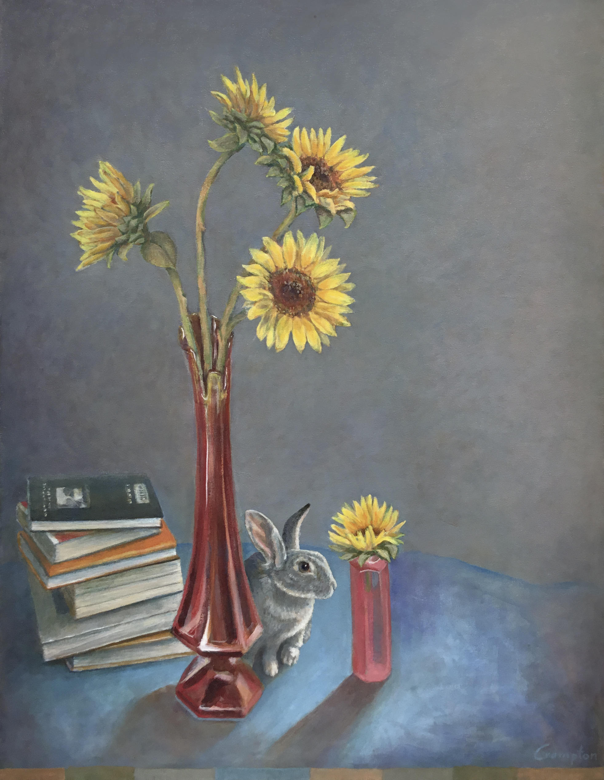 Painting of Sunflowers w Red Vase and Rabbit