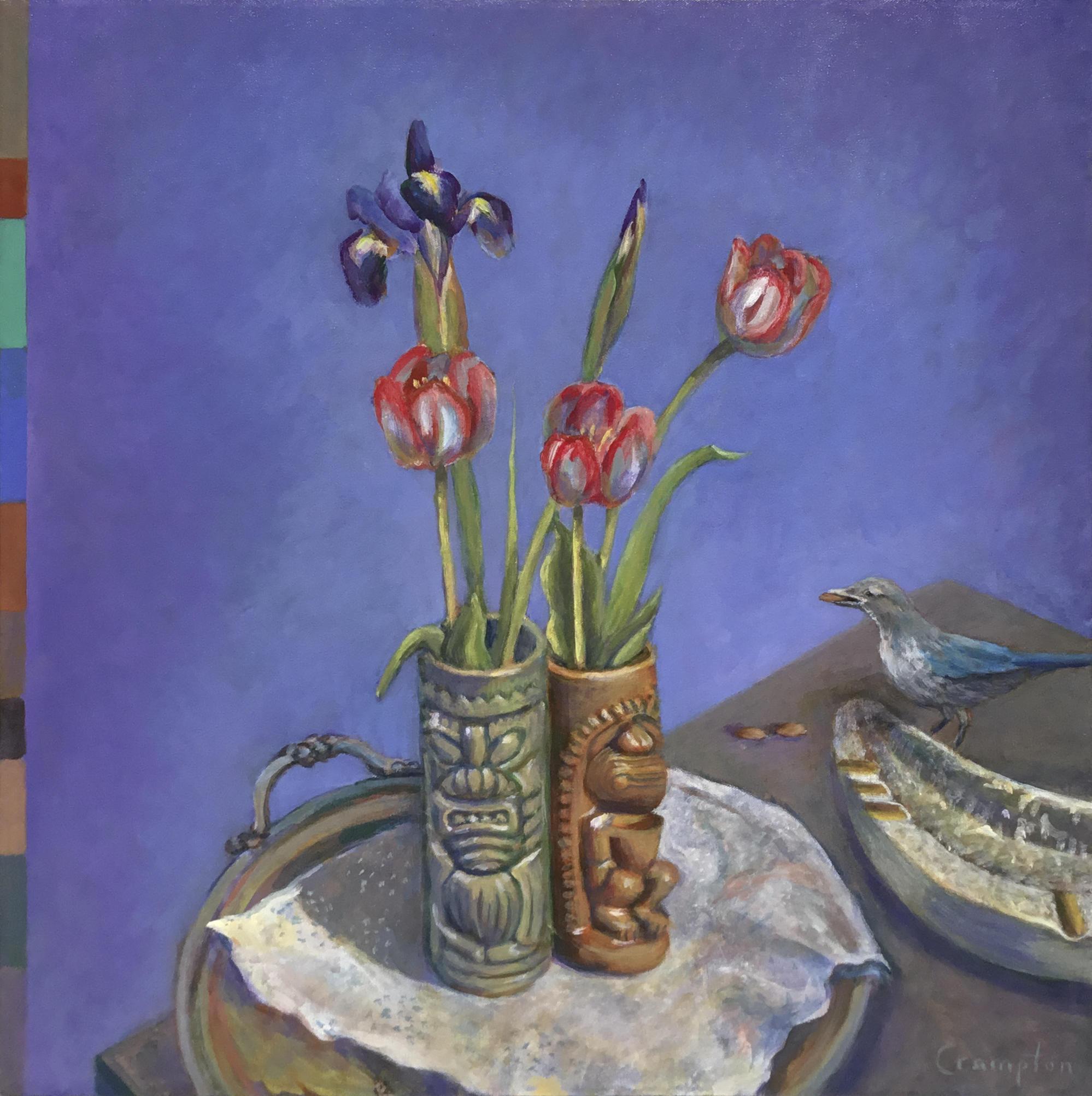 Painting of Tiki Tulips and Baby Scrub Jay