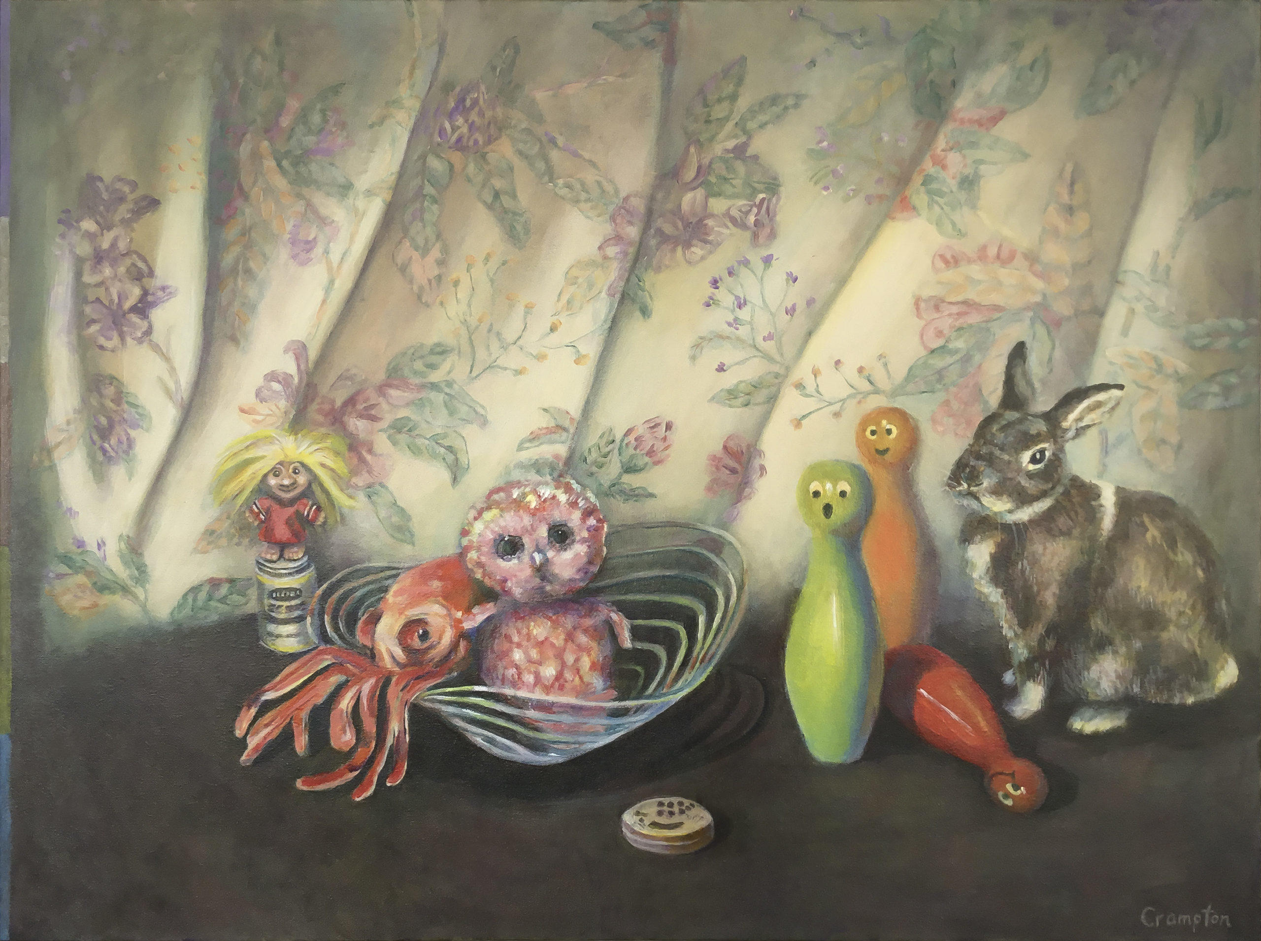 painting of toy owl, damn doll, octopus, bowling pins and Rabbit