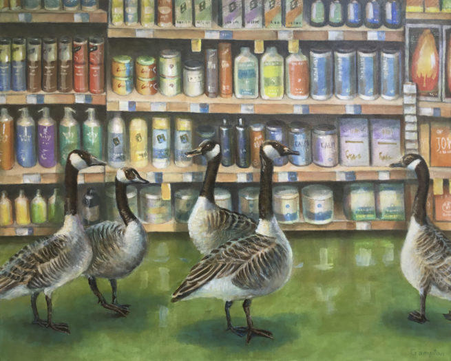 Geese at Whole Foods painting