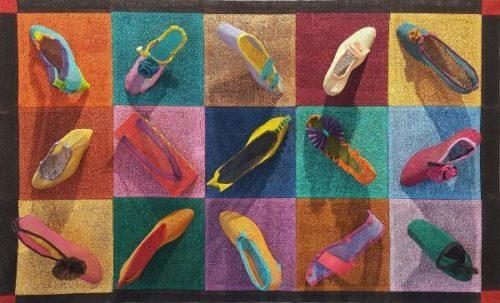 """""""Large Square Dance"""" by Estelle Akamine, stitched & painted mesh, 55"""" x 34"""" x 11"""" – $2100"""