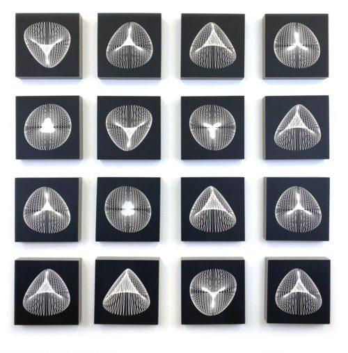 "Carrie Ann Plank ""Deconstructed GIF, Single Cell Series,"" Woodcut on panel with matte finish, 8"" x 8"" each, As installed 38"" x 38"", 2020"