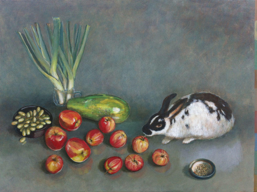Still life with Rabbit and Papaya