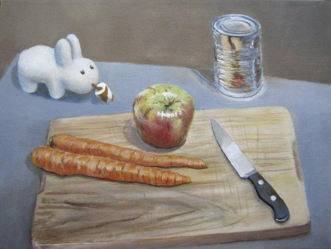 Still life w Kid Robot, knife, apple, can