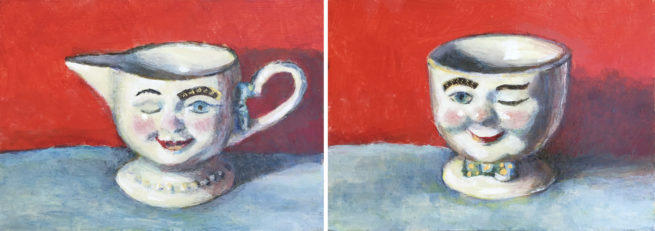 2 paintings of china cups Baileys