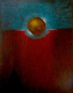 Gold Sphere and Gold Ring with Blue Aura; Canvas Board; 20 x 16""
